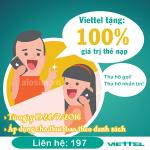 Viettel khuyến mãi 100% giá trị thẻ nạp từ 19-24/7/2016