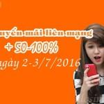 Khuyến mãi nạp thẻ Vietnamobile ngày 2-3/7/2016 được cộng 50-100%