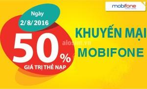 Mobifone tặng 50% giá trị thẻ nạp trong ngày 2/8/2016