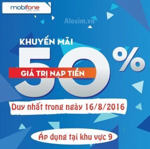 Mobifone khuyến mãi 50% nạp thẻ ngày 16/8/2016 khu vực 9