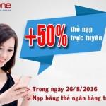 Mobifone khuyến mãi 50% nạp tiền trực tuyến ngày 26/8