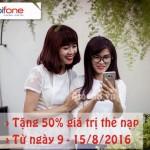 Mobifone khuyến mãi 50% thẻ nạp từ 9-15/8/2016