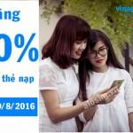 Vinaphone khuyến mãi 50% thẻ nạp ngày vàng 19/8/2016