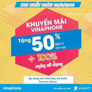 Vinaphone tặng 50% giá trị thẻ nạp ngày vàng 23/9/2016