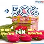 Mobifone tặng 50% giá trị thẻ nạp từ ngày 11 - 18/10/2016