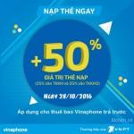 Vinaphone khuyến mãi 50% thẻ nạp ngày 28/10/2016